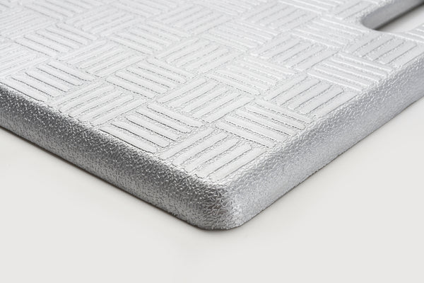 "# 18001-21 Anti-Fatigue, Ergonomically Engineered, Non-Toxic, Non-Slip, Waterproof, All-Purpose PU Floor Mat, Basket Weave Pattern, 20"" x 20"" x .62"" thickness, Silver Color (1 Pack)"