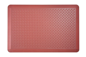 "# 18003-41 Anti-Fatigue, Ergonomically Engineered, Non-Toxic, Non-Slip, Waterproof, All-Purpose PU Floor Mat, Tread Plate Pattern, 24"" x 36"" x .7"" thickness, Marsala Color (1 Pack)"