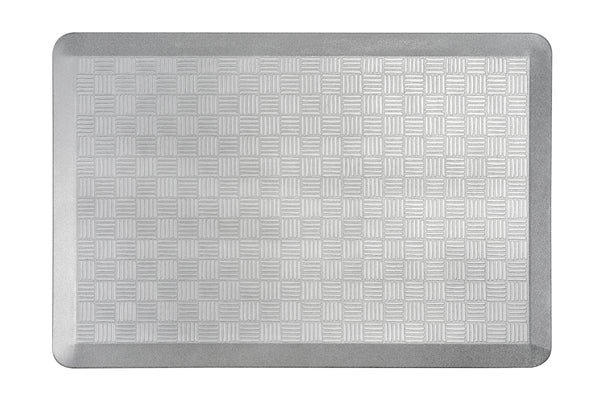 "# 18002-22 Anti-Fatigue, Ergonomically Engineered, Non-Toxic, Non-Slip, Waterproof, All-Purpose PU Floor Mat, Basket Weave Pattern, 24"" x 36"" x .7"" thickness, Silver Color (2 Pack)"