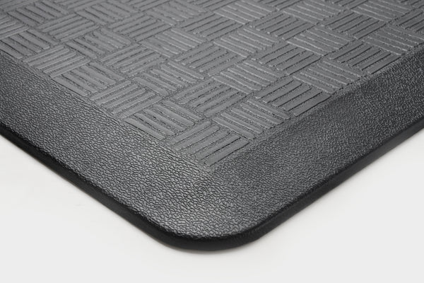 "# 18002-31 Anti-Fatigue, Ergonomically Engineered, Non-Toxic, Non-Slip, Waterproof, All-Purpose PU Floor Mat, Basket Weave Pattern, 24"" x 36"" x .7"" thickness, Black Color (1 Pack)"