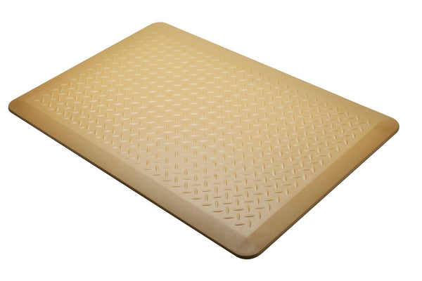 "# 18003-11 Anti-Fatigue, Ergonomically Engineered, Non-Toxic, Non-Slip, Waterproof, All-Purpose PU Floor Mat, Tread Plate Pattern, 24"" x 36"" x .7"" thickness, Ice Coffee Color (1 Pack)"