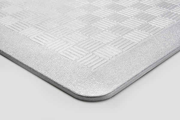 "# 18002-21 Anti-Fatigue, Ergonomically Engineered, Non-Toxic, Non-Slip, Waterproof, All-Purpose PU Floor Mat, Basket Weave Pattern, 24"" x 36"" x .7"" thickness, Silver Color (1 Pack)"