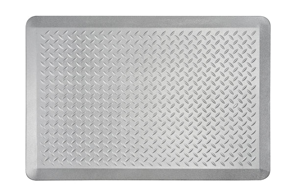 "# 18003-21 Anti-Fatigue, Ergonomically Engineered, Non-Toxic, Non-Slip, Waterproof, All-Purpose PU Floor Mat, Tread Plate Pattern, 24"" x 36"" x .7"" thickness, Silver Color (1 Pack)"