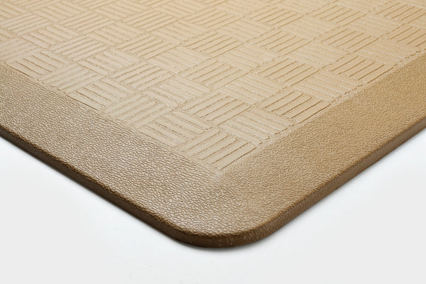 "# 18002-12 Anti-Fatigue, Ergonomically Engineered, Non-Toxic, Non-Slip, Waterproof, All-Purpose PU Floor Mat, Basket Weave Pattern, 24"" x 36"" x .7"" thickness, Ice Coffee Color (2 Pack)"