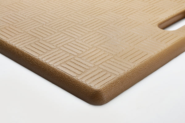 "# 18001-11 Anti-Fatigue, Ergonomically Engineered, Non-Toxic, Non-Slip, Waterproof, All-Purpose PU Floor Mat, Basket Weave Pattern, 20"" x 20"" x .62"" thickness, Ice Coffee Color (1 Pack)"