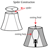 "# 32222  Transitional Hardback Empire Shaped Spider Construction Lamp Shade in Black Cotton, 12"" wide (11"" x 12"" x 8 1/2"")"