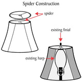 "# 32419 Transitional Hardback Empire Shaped Spider Construction Lamp Shade in Off White, 9"" wide (5"" x 9"" x 7"")"