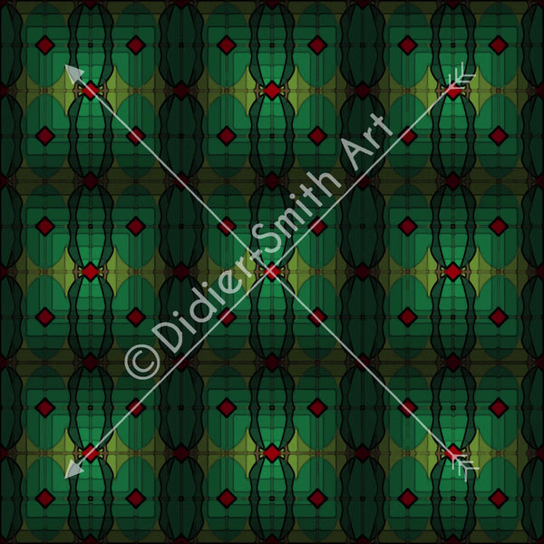C2589 Green abstract squares