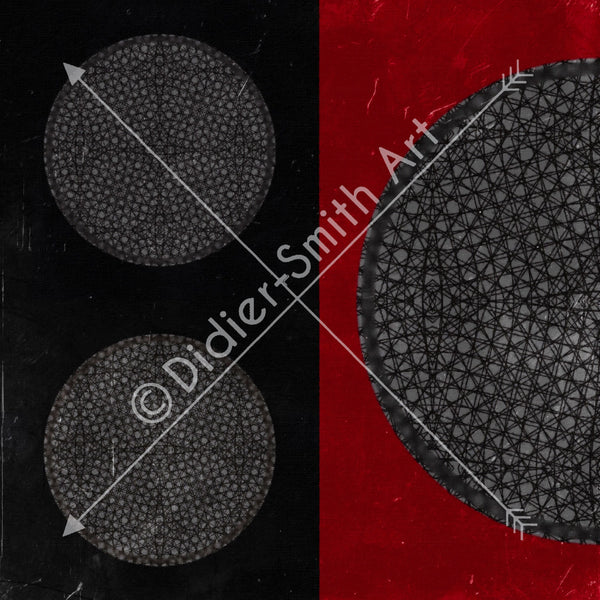 C3573 Red, black and grey grunge circles retro chic