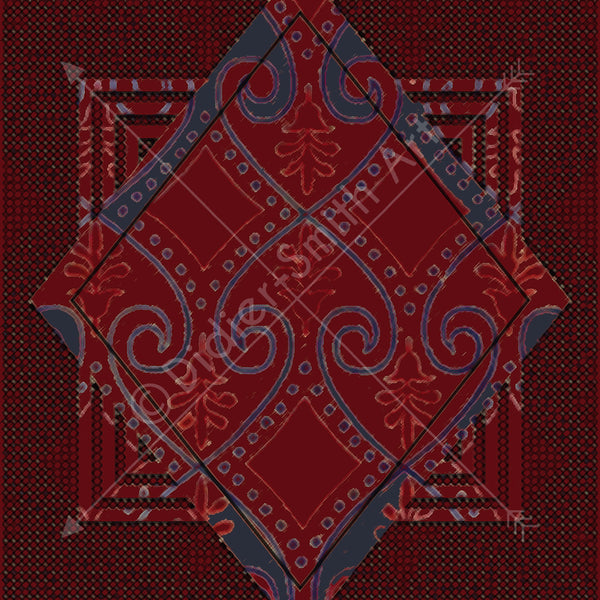 Medieval Pattern Red and Blue