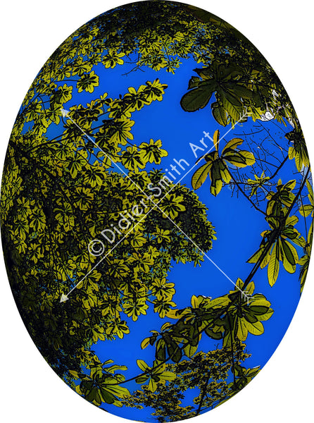 C1142 Oval art nature blue and green - Didier-Smith Art
