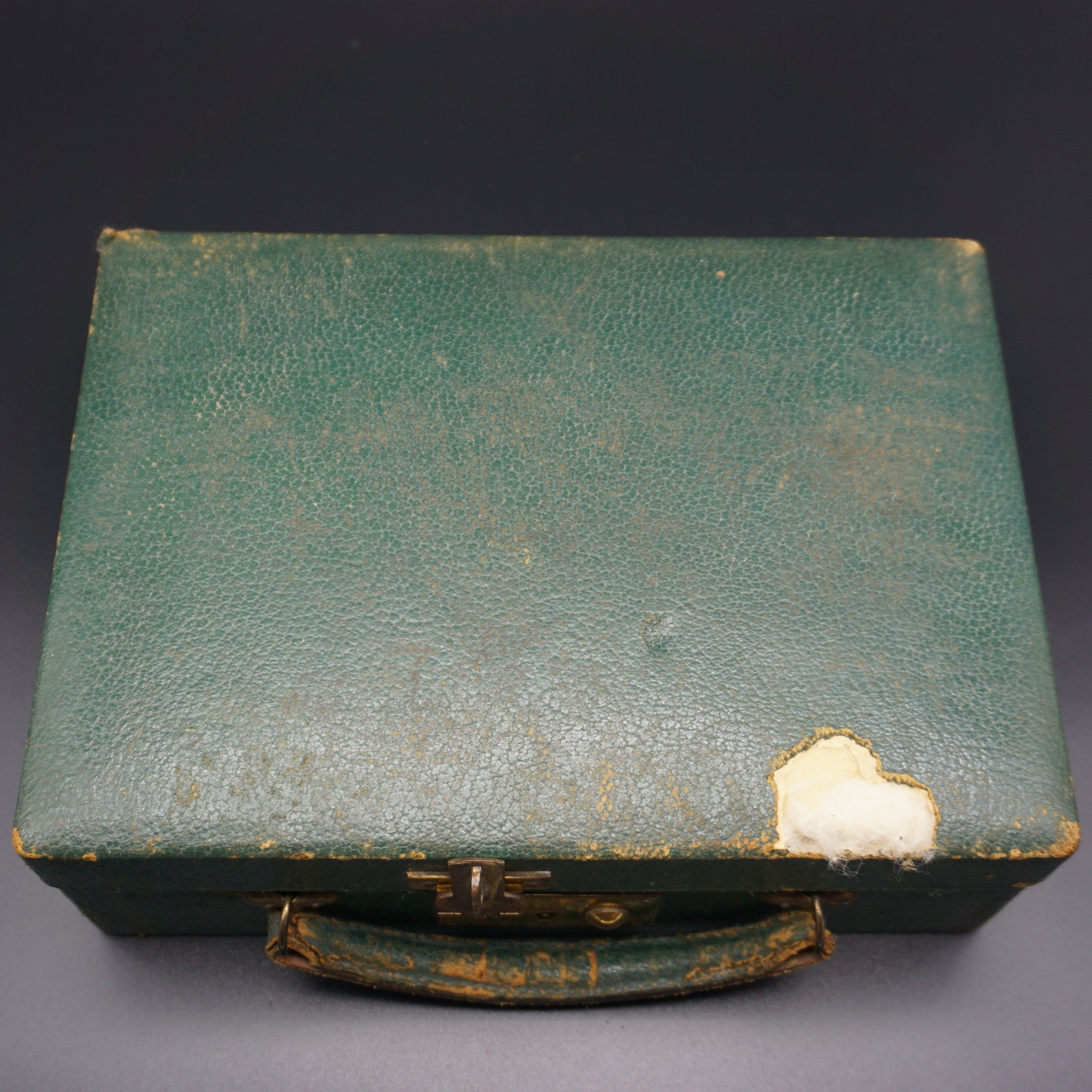 Vintage Green Leather Jewelry Box with Velvet Lining and Removable
