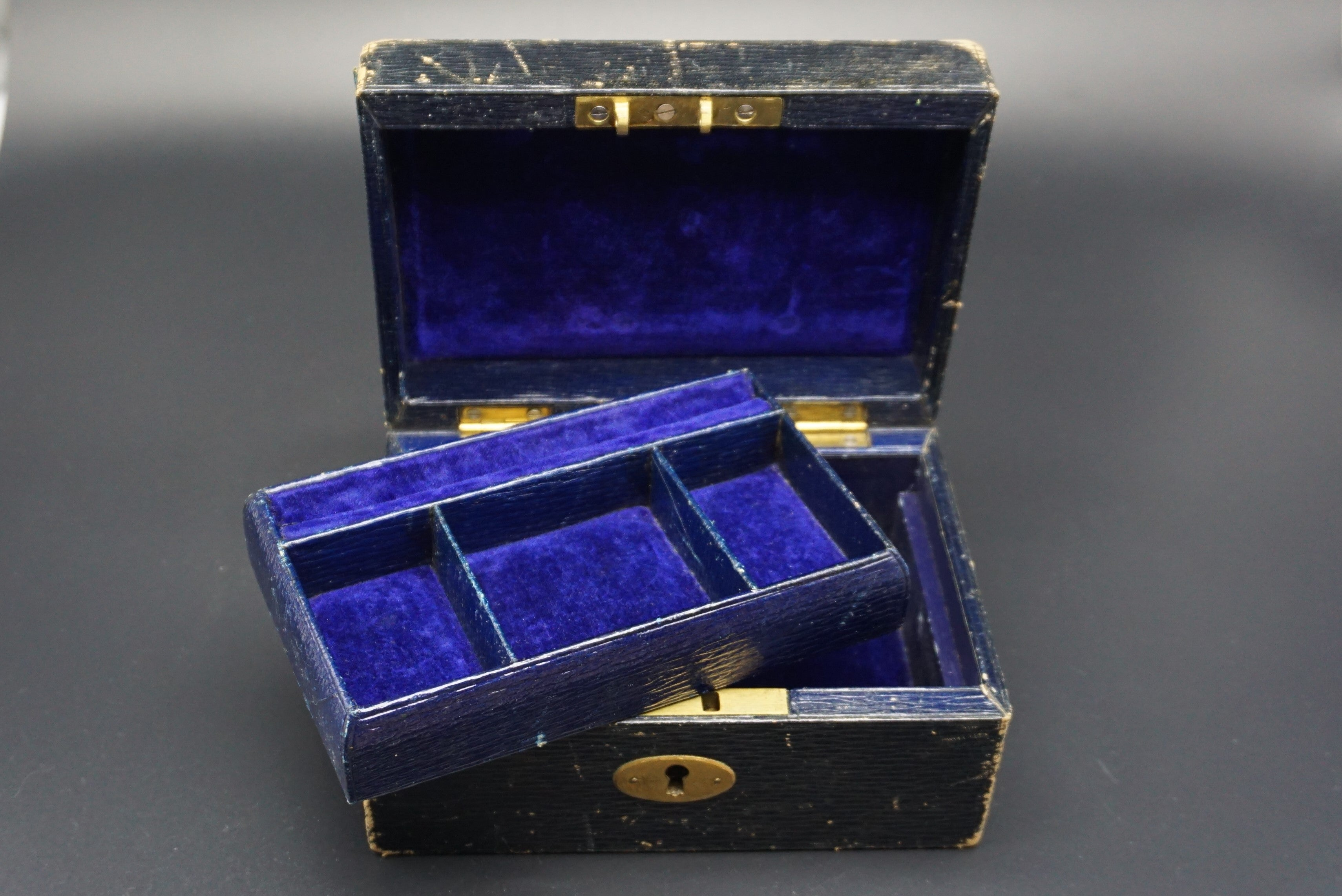 Small Victorian Leather Royal Blue Velvet Jewelry Box REBUS 33
