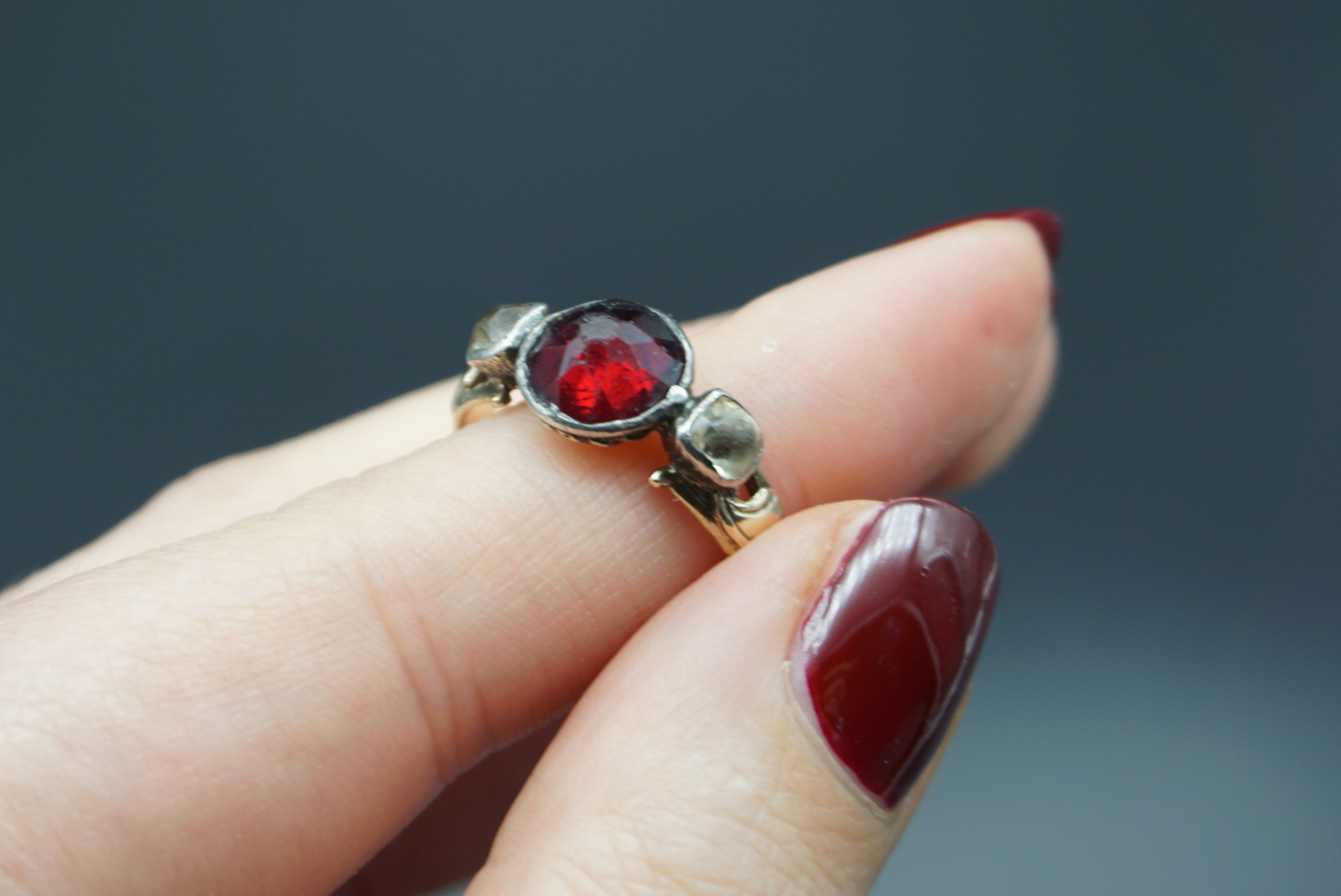 statement diamond ring garnet thoscene