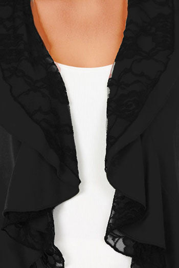 Funfash Plus Size Cardigan Black Lace Layered Womens Sweater