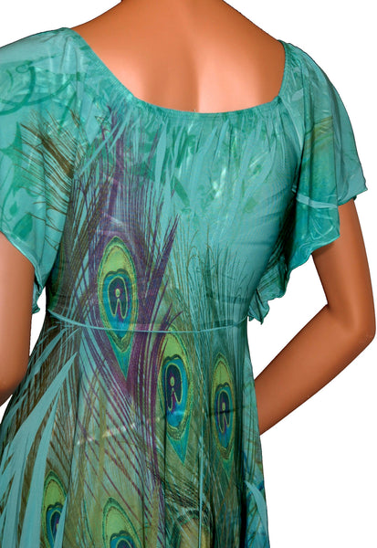 Funfash Plus Size Jade Green Peacock Empire Waist Womens Top Shirt