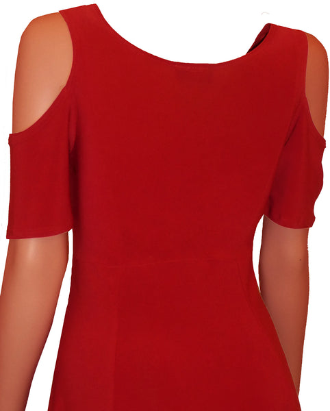 Funfash Plus Size Women Open Cold Shoulders Red Cocktail Dress New Made in USA