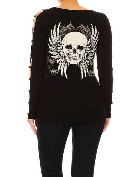 Gothic Skull Tattoo V-Neck Top