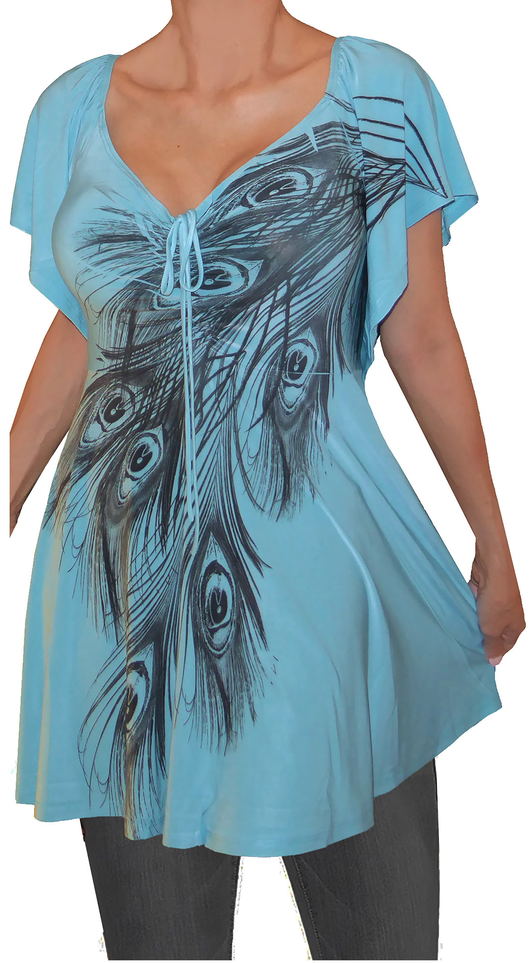 c7caf074a5e4 Funfash Plus Size Women Empire Waist Blue Peacock Top Shirt Blouse Made in  USA