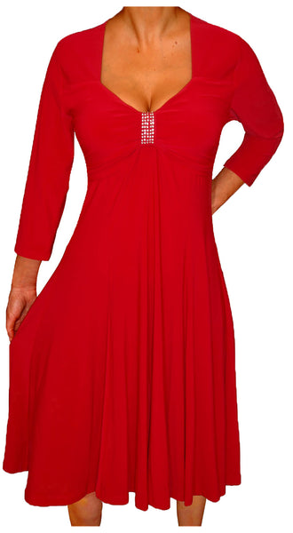Funfash Plus Size Women Long Sleeves Empire Waist A Line Midi Dress Made in USA