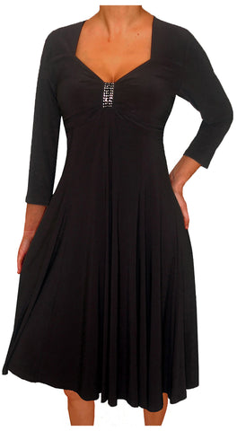 Image of Funfash Plus Size Women Long Sleeves Empire Waist A Line Midi Dress Made in USA
