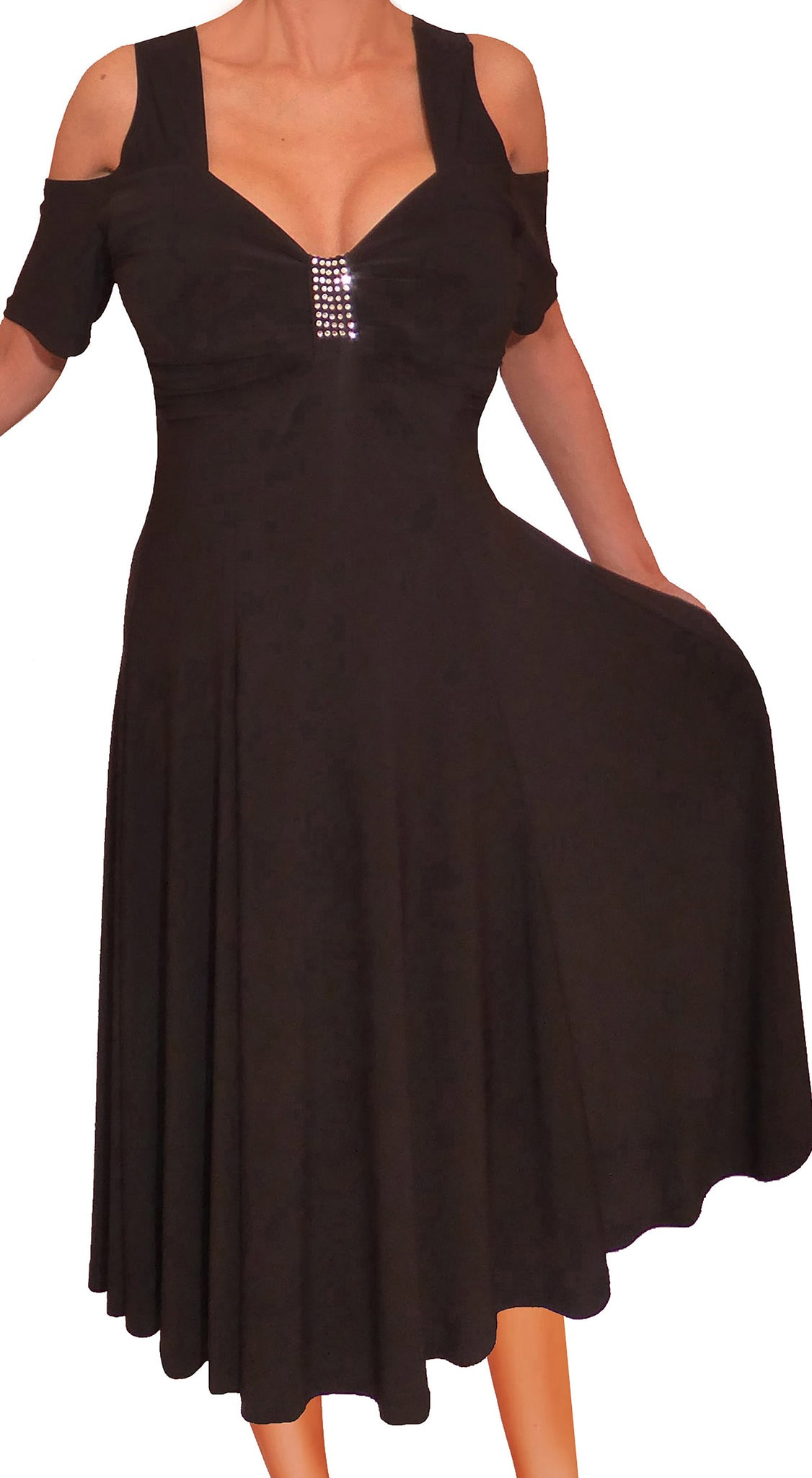 Plus Size Dress | Black Swing Dress | Made In USA | Funfash
