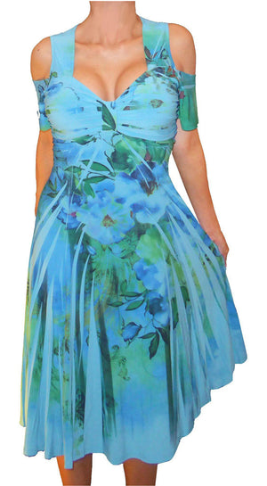 Funfash Plus Size Women Cold Shoulders Blue Floral Cocktail Dress Made in USA