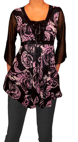 Image of Funfash Plus Size Corset Style Black Purple Womens Top Shirt Blouse