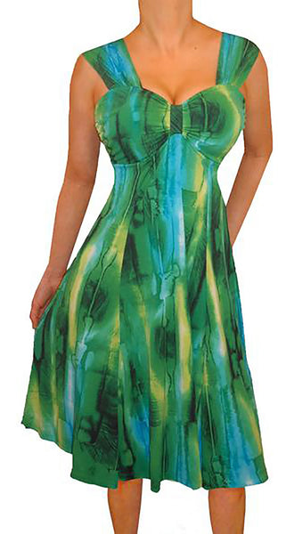 Funfash Plus Size Women Emerald Green Slimming Flare Cocktail Dress Made in USA