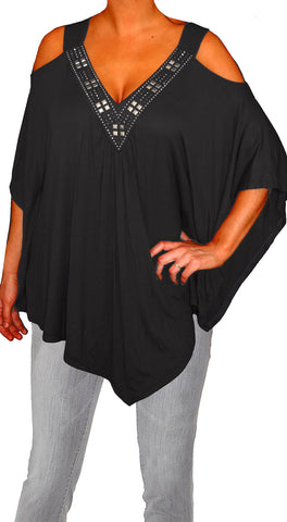 Funfash Plus Size Women Off Open Shoulders Black Blouse Top Shirt Made in USA