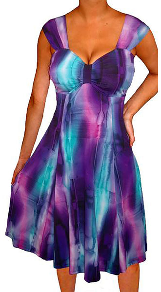 Funfash Plus Size Women Purple Empire Waist A Line Cocktail Dress Made in USA
