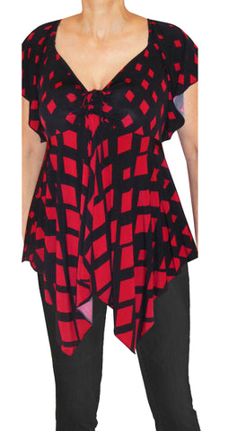 Funfash Plus Size Clothing Red Black Women Top Shirt Blouse Made in USA