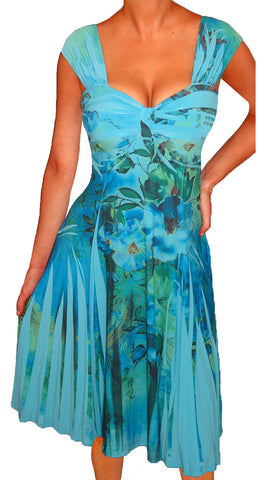 Funfash Plus Size Blue Slimming Empire Waist Cocktail Cruise Dress Made in USA