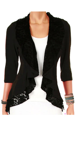 Image of Funfash Plus Size Cardigan Black Lace Layered New Womens Sweater Top Shirt