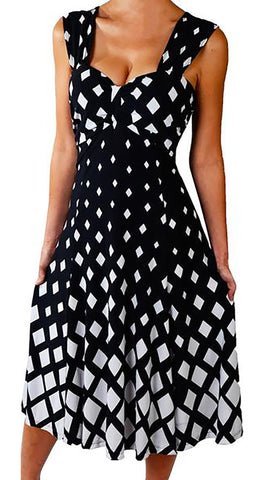 Image of Funfash Plus Size Women Diamond White Black Slimming Cocktail Dress Made in USA