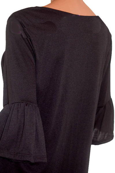 Black Bell Sleeves Top Made in USA