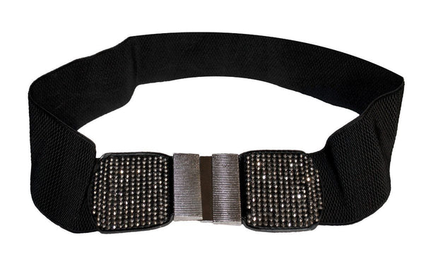 Funfash Belt Black Shimmering Stones Buckle Stretchy Elastic Belt Plus Size