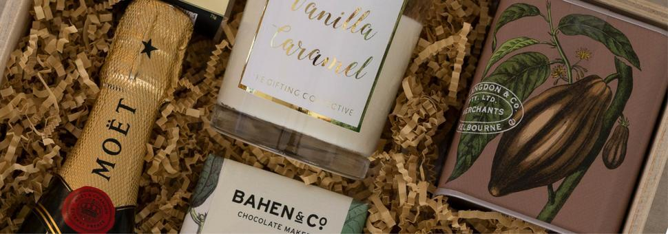 moet soy candle bahen and co chai latte  giftbox the gifting collective gift boxes sydney melbourne brisbane canberra adelaide