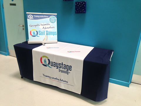 Promotional tablecloth & Large Desktop display