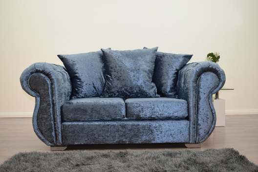 Buckingham 2 Seater Sofa in Blue Velvet | HOS Home | Mirrored furniture | Affordable Luxury