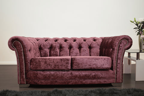 Anna Chesterfield 2 Seater in Mulberry - Mirrored furniture - Sparkle Diamond - House of Sparkles