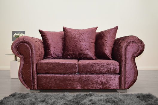 Buckingham 2 Seater Sofa in Mulberry Velvet | HOS Home | Mirrored furniture | Affordable Luxury