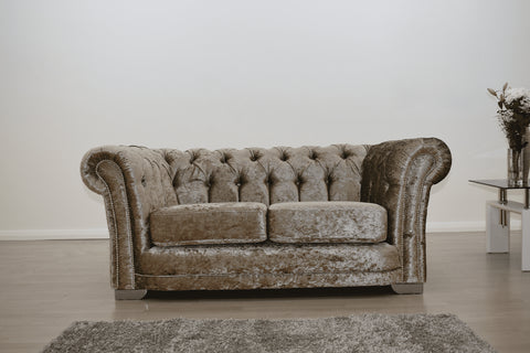 Anna Chesterfield 2 Seater in Mink - Mirrored furniture - Sparkle Diamond - House of Sparkles