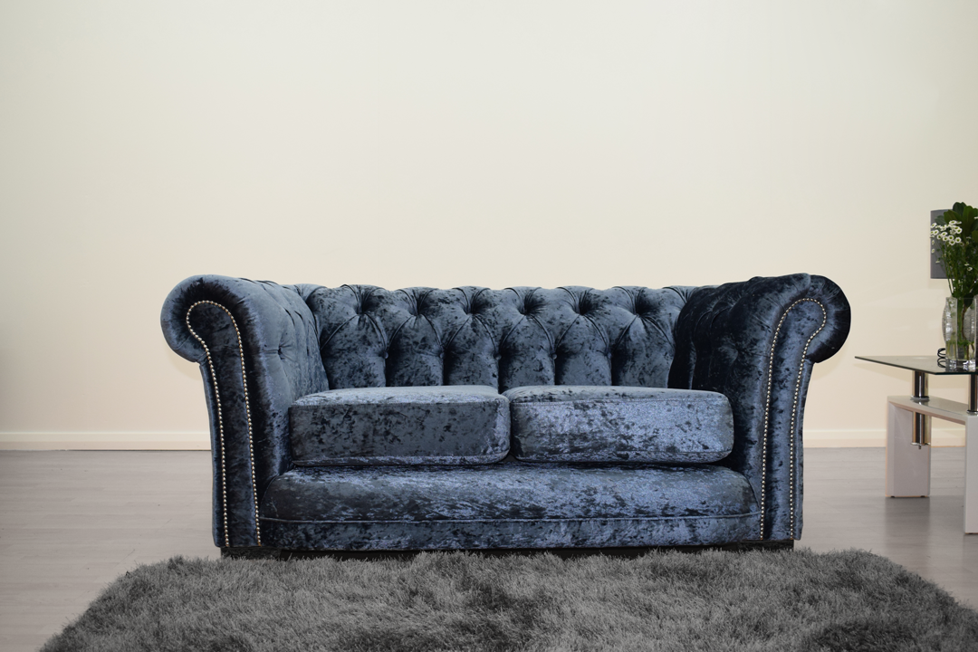 Anna Chesterfield 2 Seater in Blue - Mirrored furniture - Sparkle Diamond - House of Sparkles