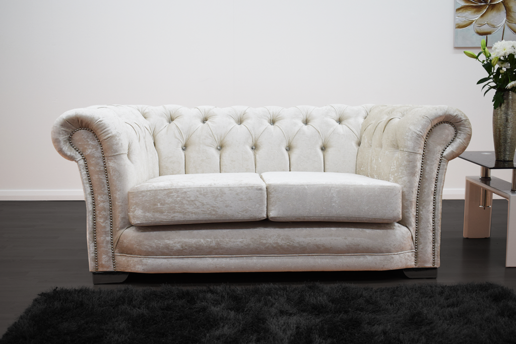 Anna Chesterfield 2 Seater in Cream | HOS Home | Mirrored furniture | Affordable Luxury