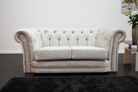 Anna Chesterfield 2 Seater in Cream - Mirrored furniture - Sparkle Diamond - House of Sparkles