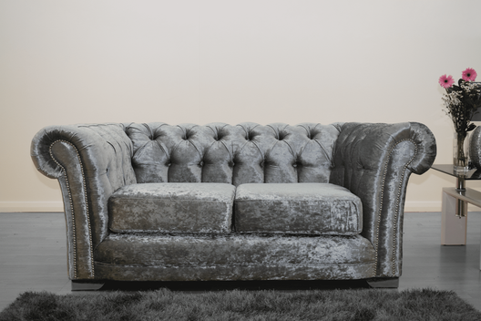Anna Chesterfield 2 Seater in Silver | HOS Home | Mirrored furniture | Affordable Luxury