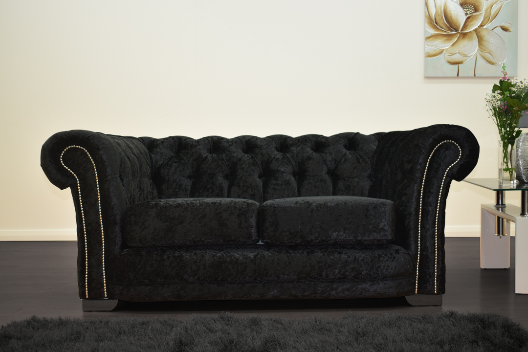 Anna Chesterfield 2 Seater in Black - Mirrored furniture - Sparkle Diamond - House of Sparkles