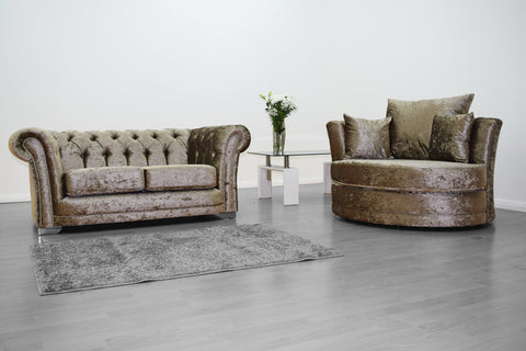 Anna Chesterfield 2 Seater and Cuddle Chair in Mink - Mirrored furniture - Sparkle Diamond - House of Sparkles