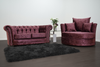 Anna Chesterfield 2 Seater and Cuddle Chair in Mulberry - Mirrored furniture - Sparkle Diamond - House of Sparkles